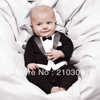 Hot!100% cotton baby boy's Gentleman modelling romper infant long sleeve climb clothes kids outwear/clothes