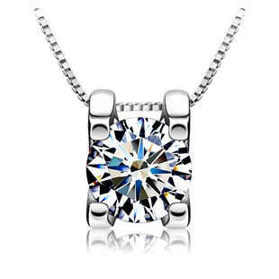 Square Austria Crystal Pendant,Silver 925 Jewelry,3 Layer Platinum Plating,Perfect Polished,Necklace Silver Jewelry ON05