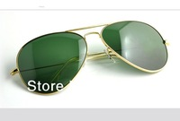 Wholesale!Name Brand full logo aviator 3025 sunglasses  gold silver gun black  frame green lens size 58mm free shipping!