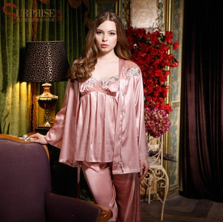 Three-piece Free Shipping 2013 Summer Women's Pajamas Sets Sexy Silk Nightgown Ladies Sleepwear Satin Dressing Gown Plus Size(China (Mainland))