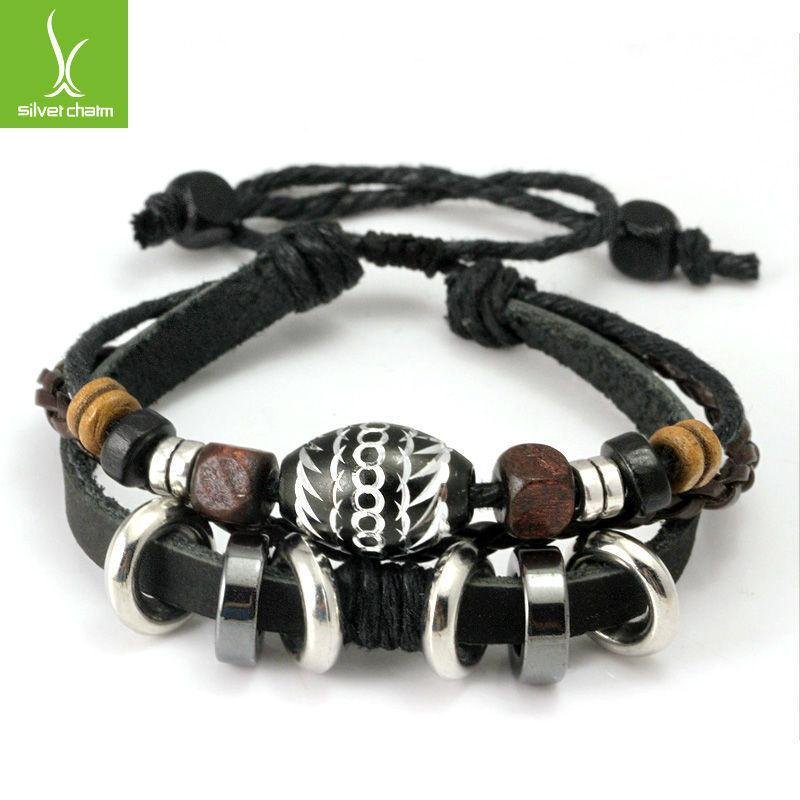 Free Shipping Hot Sale Wrap Leather Rope Bracelet for Men Women Colorful Wooden Beads and Metal Charms Fashion Jewelry PI0274(China (Mainland))
