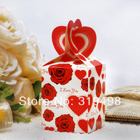 Free shipping (100pcs/lot)  the shape of the fish tail candy love heart box  Wedding banquet box wedding decoration