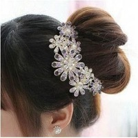 Free Shipping Luxury Charms Crystal Flower Hair Comb Wedding Accessories A1R11 (Hot selling)