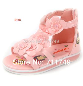 2014 New style Spring Summer Fashion Flower Glisten PU Princess Anti-Skidding Shoes children sandals girl Flip Flops