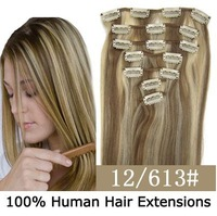 "Factory Outlet Price 16""-22"" Remy Human Hair Extensions Clips In Extensions 7Pcs 70g/set 80g/set  #12/613 Brown Hair"