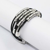 Min order $10 (mix) Unique design 5 strands leather Cord vintage alloy bracelet,fashion  pearl bracelet ,free shipping!!