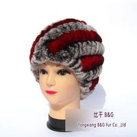 BGZX024 Free Shipping Colorful Real Knitted Rex Rabbit Fur Beanie Lady's Winter Handmade Warm Hats