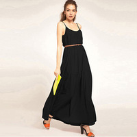 2013 New Women Bohenmia Empire Chiffon Beach Floor-Length Dress Sexy Strap Maxi Ruffles Long Evening Party Dress Black\Pink
