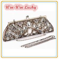 New Retro Handmade Beaded Ladies Handbag. Full Diamond Clutch Evening Bag. Long Short Chain Shoulder Messenger Women Tote Bag