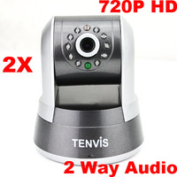 Tenvis 720P HD IP Camera CMOS H.264 Wireless CCTV Webcam IRcut Pan Tilt Zoom 2 Way Audio Network Camera Freeshipping 2pcs/lot