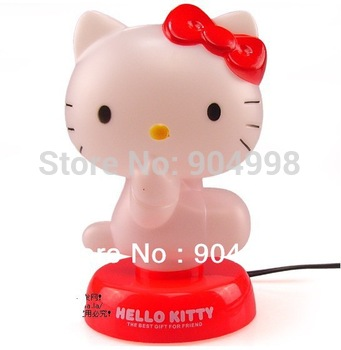 Free Shipping Hello Kitty table lamp Night Lights 220V Red color and Pink color available Pls tell us which color you want