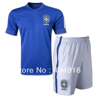 100% embroidery logo 13-14 Brazil away Soccer uniforms sets blue,custom name free,size S,M,L,XL,can mix order
