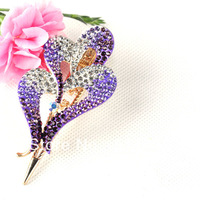mix color purple/purple 2 heart alloy hair clip rhinestone hair  pin for women girl Free Shipping