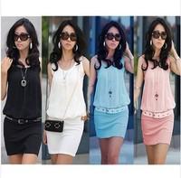 New !! Summer Women's Mini Dress Crew Neck Chiffon & cotton Sleeveless Causal Tunic Sundress 4 colors 4 Sizes S M L XL