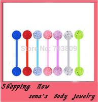 piercing free shipping wholesale 100pcs/lot mix 8color  acrylic uv body jewelry straight glitter bar tongue ring