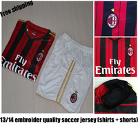 AC Milan Home 13-14 New Season Soccer Jerseys With Short uniforms with Embroidery logo football Kit