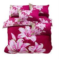 3d Lily flower oil print bedding set 100 cotton bedclothes King Queen size duvet/quilt/comforter cover bed sheet Linen sets