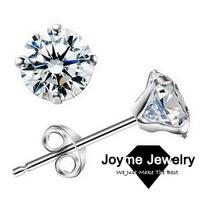Free Shipping Wholesale 2014 New 925 Sterling silver Zircon Stud Earrings Fashion Jewelry For Women Anti-allergic Earring