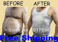 Men's Slimming Underwear  Vest Under-Shirt Body Shaper Belly Cincher  Lose Weight New White