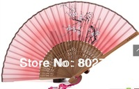 Free Shipping 2014 Sale Rushed Folk Art Leques Painted Flower Chinese Silk Folding Hand Fan Bamboo Ribs for Ladies Souvenirs