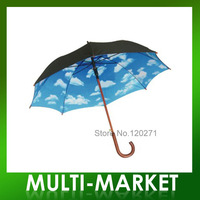 Free shipping/ New Design Straight Umbrella Heaven Printed Umbrella Sky Umbrella