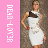 Floral Foil Print Bodycon Dress White/Black  LC2668  Cheongsam Sleeveless Designed Print Fashion Women Dress