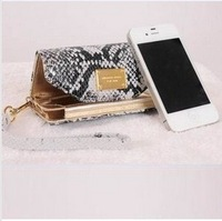 Free shipping New soft Snake Pattern  Genuine Leather case for Iphone brand designer wallets for women   purse designer bags