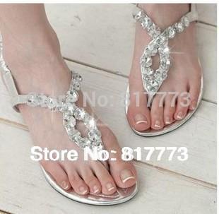 2014 Time-limited Limited Freeshipping Medium(b,m) Open Open Toe Rhinestone Sandals Women's Flat Heel Women Flip Flops Casual