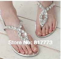 resplendent FREE SHIPPING Glass rhinestone sandals,Big yards flat sandals in summer