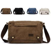 Free shipping 4 colors canvas&leather casual vintage shoulder bags women messenger bag men 2013 new brand bag 00512