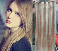 "#8-613 mix brown and blonde Hair One Piece Clip In Human Hair Extensions 16""-28"" 5 clips 100g/piece Accept Custom Order"