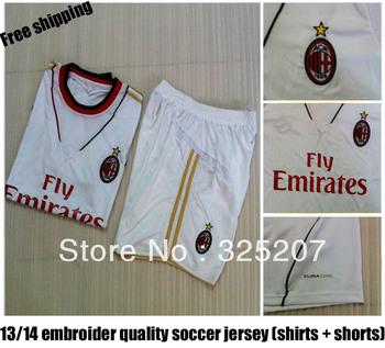 2013- 2014 AC Milan White soccer jerseys Set Soccer Unfiorms  Football Sport Men Shirt And Pants Dropship
