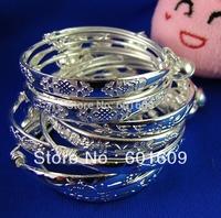 Free Shipping! Wholesale 10pcs 925 sterling silver flower baby's bell bangle bracelet TZ022*1