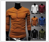 Fashion slim fit tshirts cotton men designer spring /summer 2013 mens' slim long sleevet mens s