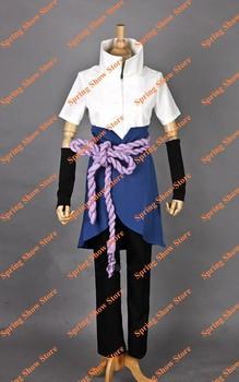 Free Shipping Top Quality NARUTO Uchiha Sasuke Teenage Uniform Anime Cosplay Costume