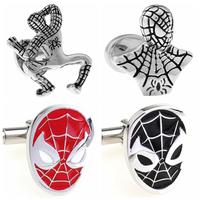 Fashion Jewelry Super Hero Spider Man Metal Cufflinks Designer Men's Cufflink Marvel Comics French Shirt Accessories Cuff links