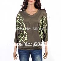 Women's fashion V-Neck Batwing Dolman three quarter sleeve t-shirt Letter Prints top Blouses 3 colors +Free Shipping #5190