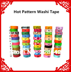 Accept mix order freeshipping colorful printing washi masking tape,printing washi tape,hot in market,So lovely! 1.5cm*10m(China (Mainland))