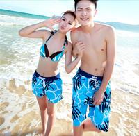 2015 New Women Board Shorts Swimwear Coconut Palm Printed Lovers Beach Swimsuit Fashion Holiday Swimwear