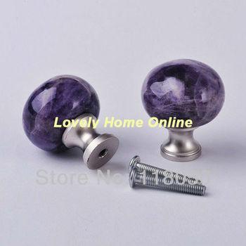 Free Shipping Purple Knobs,30mm Natural Amethyst Crystal Cabinet Door Knob w/ Brass Base,Decorative Kitchen Furniture Hardware