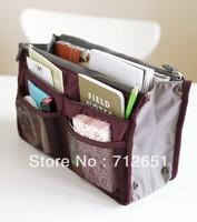 Free Shipping  10 Color Women Makeup handbags Travel Insert Handbag Organiser Purse Large liner Organizer Bag
