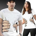 couple clothes women& men's T shirt creative big hand printed 3D vision cotton t shirt personality top tees 3 colors S-XL158