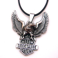 free shipping Fashion jewelry high quality cross titanium steel gladiator style flying eagle pendant necklace