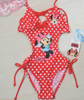 Free Shipping 4pcs/lot 2colors Minnie children swimwear for 3-8yrs, kids swimsuit cute fashion girls bathers beach wear