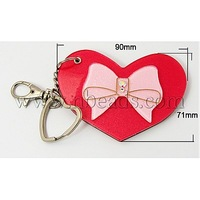Iron Key Chains,  with Acrylic Mirrors,  Heart,  Red,  125mm