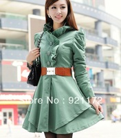 2013 spring Coats Trench gentlewomen elegant slim waist slim medium-long trench lace collar belt outerwear  Women's Clothing
