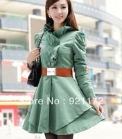 2014 spring Coats Trench gentlewomen elegant slim waist slim medium-long trench lace collar belt outerwear  Women's Clothing