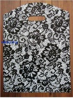 30*40(h)cm,black lace plastic shopping bag ,pe packaging gift bag for underwear clothes jewelry