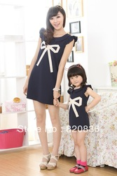 2013 sleeveless fashion family fashion clothes for mother and daughter big bow decoration large lapel one-piece dress(China (Mainland))