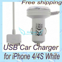 USB Car Charger for iPhone 4/4S White  free shipping